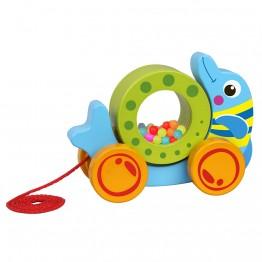 Дървена играчка за дърпане, Делфин с колело