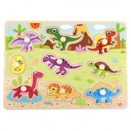 Дървен пъзел с дръжки, Динозаври