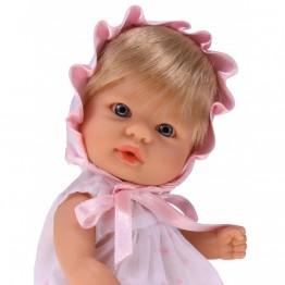 Bomboncin, Кукла-бебе Чикита, с розова рокличка и шапка, 20 см, Asi dolls