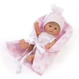 Bomboncin, Кукла-бебе Чикита, с розово одеалце, 20 см, Asi dolls