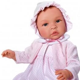 Кукла бебе, Лея, с рокля, плетена жилетка и шапка, 46 см, Asi dolls