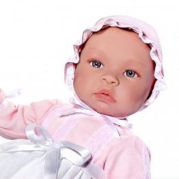 Кукла бебе, Лея, с дълга бяла рокля, 46 см, Asi dolls