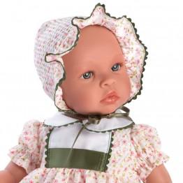 Кукла бебе, Лея, с рокля на цветя, 46 см, Asi dolls