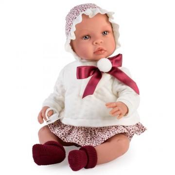 Кукла Лея, с червена панделка и помпон