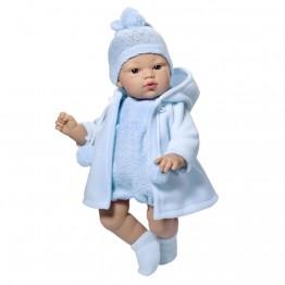 Кукла бебе, Коке със синьо гащеризонче и плато, 36 см, Asi dolls