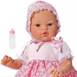 Кукла бебе, Коке с розова рокличка на цветя, 36 см, Asi dolls