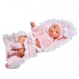 Кукла бебе, Коке с розова жилетка и одеалце, 36 см, Asi dolls