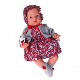 Кукла бебе, Коке с рокля и шапка на цветя, 36 см, Asi dolls