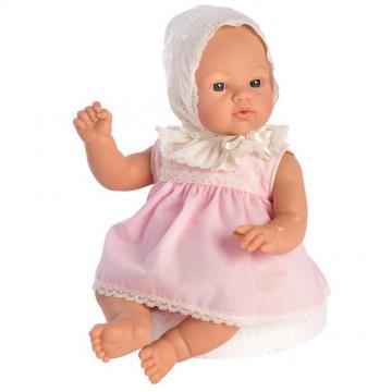 Кукла-бебе Коке, с розова рокля с дантели