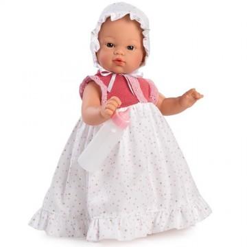 Кукла-бебе Коке, с дълга рокля и биберон