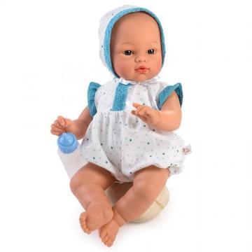Кукла-бебе Коке, с костюмче, със сини дантели