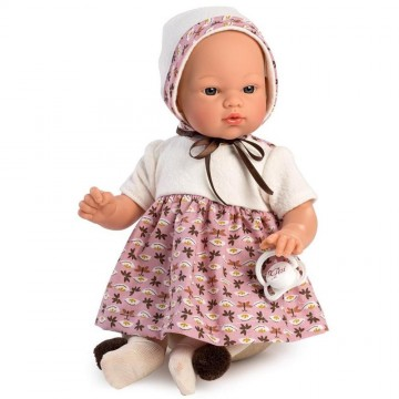 Кукла-бебе Коке, с рокля и терлички с помпони