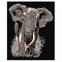 """Гравиране на медна  основа """"Слон"""""""