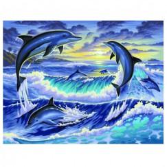 """Рисуване по номера - голям  размер """"Изгрев с делфини"""""""