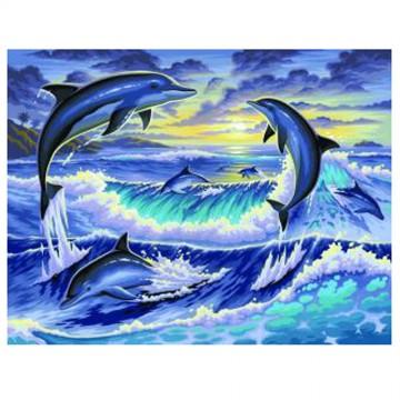 Рисуване по номера, Изгрев с делфини, голям размер