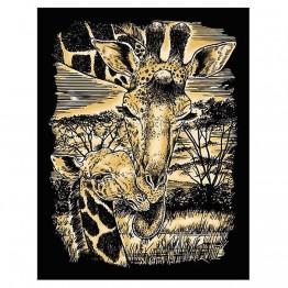 """Гравиране на  златна основа """"Жирафи"""""""