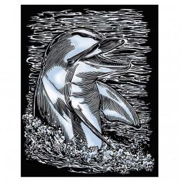 """Гравиране на сребърна  основа """"Делфин"""""""