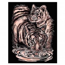 """Гравиране на медна  основа """"Тигри"""""""