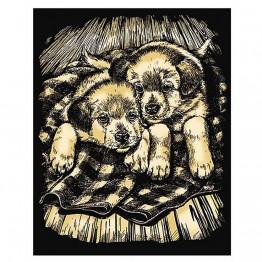 """Гравиране на златна основа """"Кученца"""""""