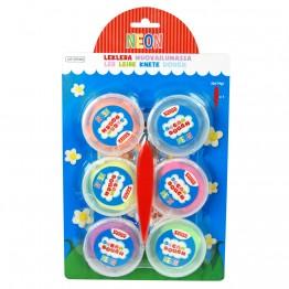 Моделин Dream Dough - 6 бр., среден, неонови цветове