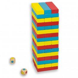 Цветна балансна кула Дженга с две зарчета