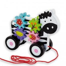 Играчка за дърпане - Зебра със зъбни колела