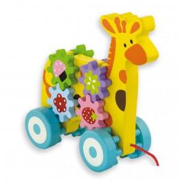 Играчка за дърпане - Жираф със зъбни колела