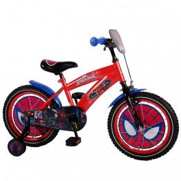 Детски велосипед с помощни колела Спайдърмен, 16 инча