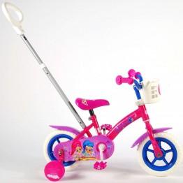 Велосипед с родителски контрол и помощни колела, Shimmer & Shine, 10 инча