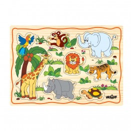 Дървен пъзел с дръжки Африкански животни
