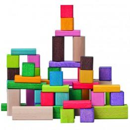 Дървен конструктор - 50 части, цветно и натурално дърво