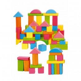 Дървен конструктор цветен, 75 части