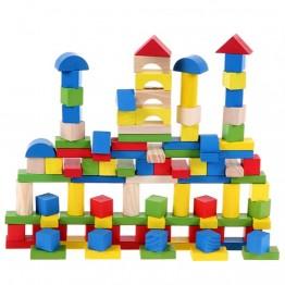 Дървен конструктор цветен, 100 части