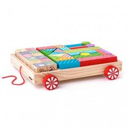 Дървен конструктор с количка