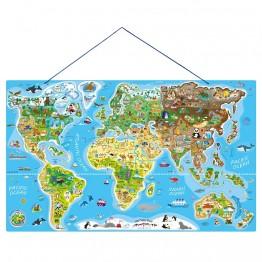 Карта на света, 2 в 1, дървен пъзел с 90 магнитни части