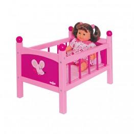 Дървено легло за кукли със завивка