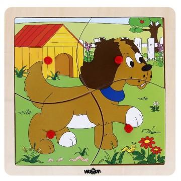 Дървен пъзел с рамка - Куче