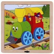 Дървен пъзел с рамка - Веселото влакче