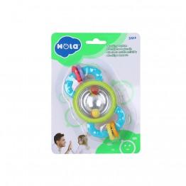 Дрънкалка и гризалка за бебе, с цветни топчета и халки