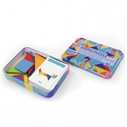 Tанграм, цветен, в метална кутия