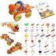 Превозни средства - пластмасов конструктор, 5 в 1, 136 части, оранжева серия
