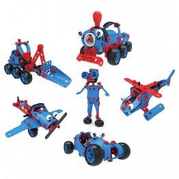 Hoogar Kids, Пластмасов конструктор, 6 в 1, 142 части, синя серия