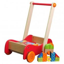 Дървена количка за прохождане, с конструктор, 30 части