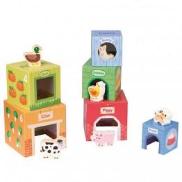 Kартонени кубчета за най-малките, с дървени животни