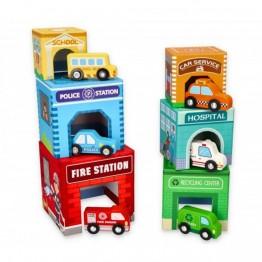 Kартонени кубчета за най-малките, с дървени превозни средства