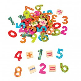 Дървени магнити, Цифри и знаци