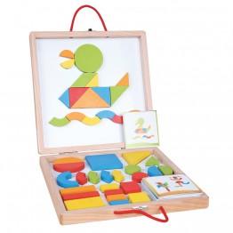 Дървени магнитни форми и цветове в куфар