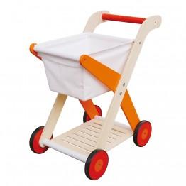Дървена детска количка за пазаруване, оранжева