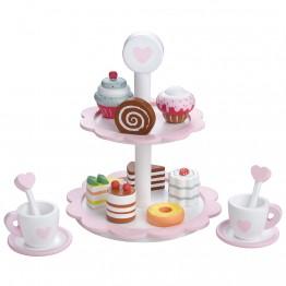 Комплект за игра, Сервиз за кафе за двама, с поднос за сладки