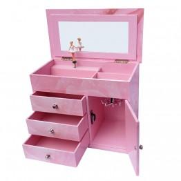 Голяма музикална кутия за бижута с чекмеджета Балерина
